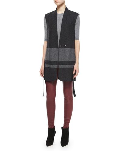 Slim-Fit Ribbed Crewneck Sweater, Blanket-Stripe Wool Vest & Smooth Leather Leggings