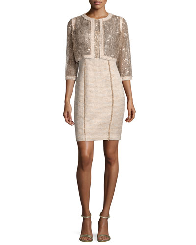 Sequined Cropped Jacket W/ Tweed Trim & Sheath Dress