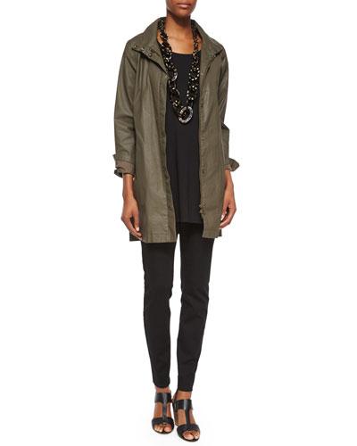 Waxed Twill A-line Jacket & Half-Sleeve Silk Jersey Tunic, Petite