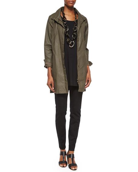 Eileen Fisher Waxed Twill A-line Jacket, Petite