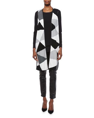 Geo-Jacquard Long Vest, Layered-Hem Long-Sleeve Top & Leather-Panel Moto Leggings