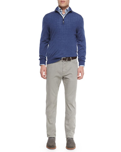 Wool-Blend Quarter-Zip Pullover, Plaid Long-Sleeve Sport Shirt & Five-Pocket Straight-Leg Denim Jeans