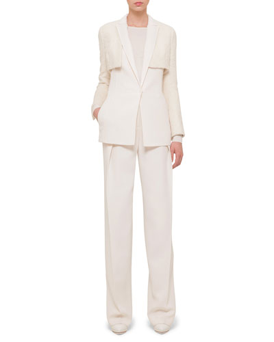 Mixed Wool Cropped Bolero, Double-Faced Wool Gilet, Cashmere-Blend Long-Sleeve Top & Double-Faced Front-Pleated Wide-Leg Pants