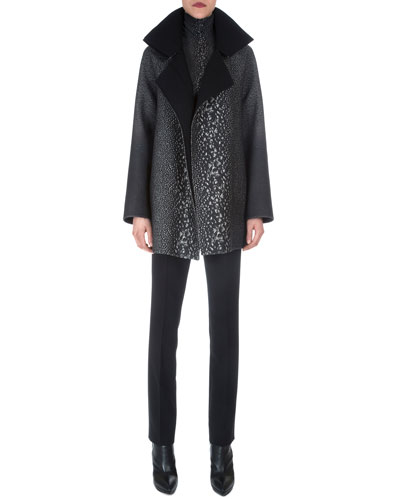 Way-Print Raglan-Sleeve Coat, Cashmere-Blend Way-Print Top & Double-Faced Zip-Pocket Pants