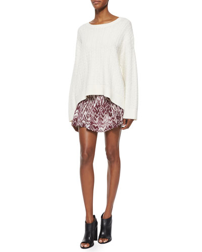 Long-Sleeve Oversized Spring Top & Adele Printed Shirred Skirt