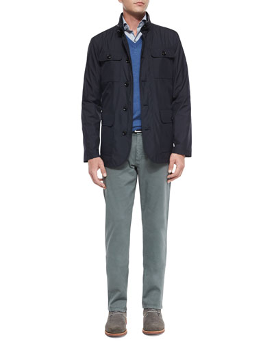 Four-Pocket Quilted Safari Jacket, Cashmere-Blend V-Neck Sweater & Five-Pocket Stretch Pants