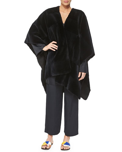 Sheared Patchwork Mink Fur Shawl, Long-Sleeve Short Dress & Straight-Leg Cropped Pants