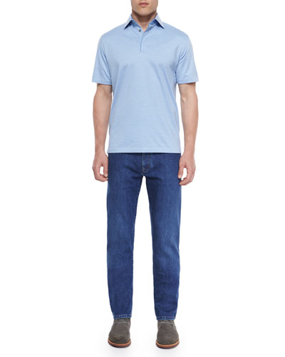 1x1 Knit Polo Shirt & Slim Fit Stretch-Denim Jeans
