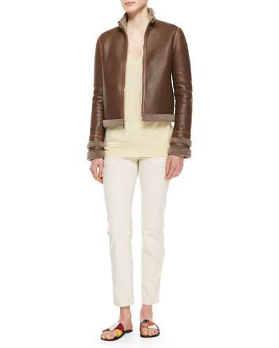 Shearling Fur-Lined Leather Jacket, Long-Sleeve Cashmere Sweater & Norland Skinny Corduroy Pants