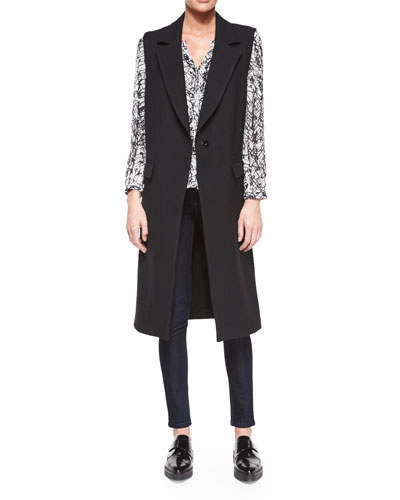 Wool Sleeveless Long Overcoat & Tessa Scribble-Print Blouse