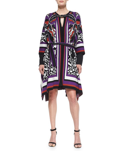 3/4-Sleeve Printed Poncho & Long-Sleeve Pleated Oversized Shift Dress