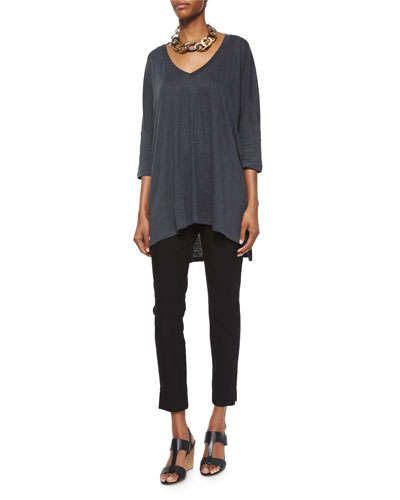 Linen V-Neck Boxy Tunic & Washable Stretch Crepe Cropped Pants, Women