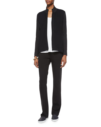 Stand-Collar Jersey Jacket, Slubby Short-Sleeve Scoop-Neck Tee & Stretch Jersey Yoga Pants