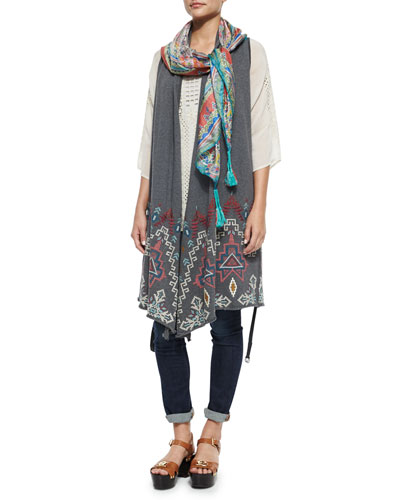 Tisha Embroidered Knit Vest, Liya 3/4-Sleeve Georgette Tunic & Helen Printed Silk Georgette Square Scarf