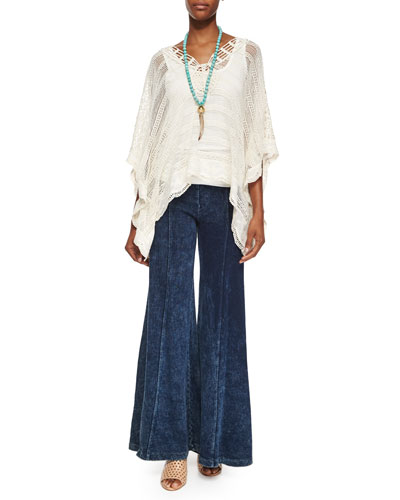 Ara Hacienda Crochet Top, Basic Slim Cotton Tank & French Terry Wide-Leg Pants, Women