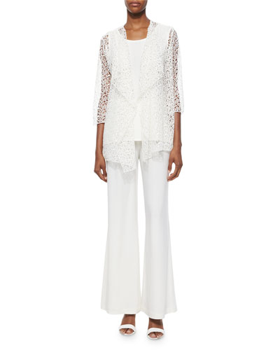 Crochet Draped Jacket, Sleeveless Long Tank & Stretch-Knit Wide-Leg Pants