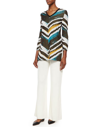 3/4-Sleeve Graphic Tunic & Washable Wide-Leg Pants, Petite