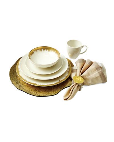 Opal Crackle & Golden Brushstroke Dinnerware