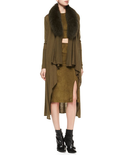 Azaria Long Cardigan w/Fur Collar, Suede Crop Top & Tani Suede Pencil Skirt