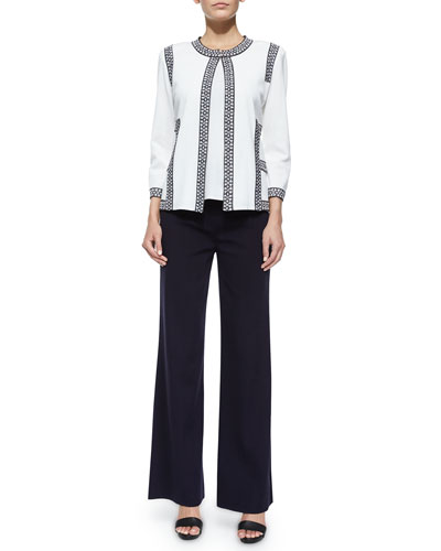 3/4-Sleeve Jacket W/ Tipping, Scoop-Neck Knit Tank & Washable Wide-Leg Pants