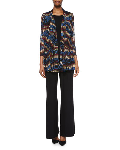 Stretch Knit Long Tank, Stretch-Knit Wide-Leg Pants & Wavy-Print Lace Cardigan, Petite