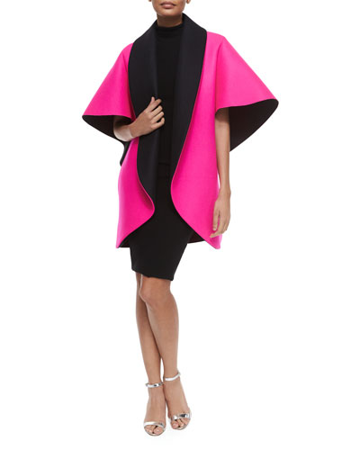 Bonded Sculptural Coat & Sleeveless Turtleneck Sheath Dress