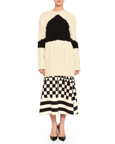Aran Cashmere-Blend Triangle Intarsia Knit Sweater & Geometric Checkerboard-Print Midi Skirt