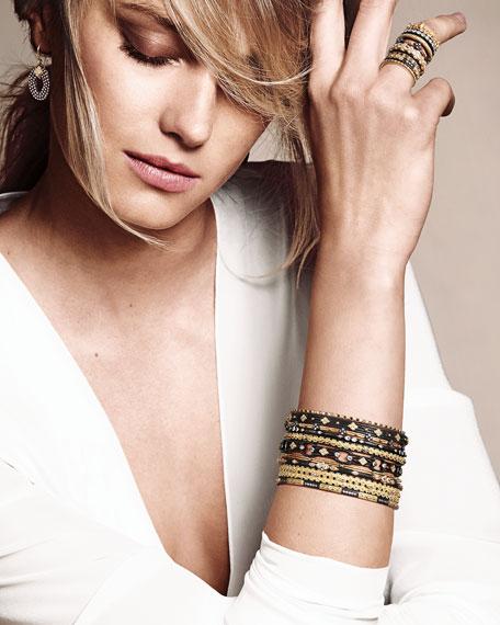 Armenta Diamond-Quatrefoil Bangle, Golden