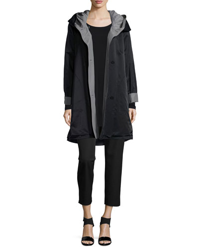 Reversible Hooded Rain Coat, Silk Jersey Long-Sleeve Tunic & Organic Stretch Twill Slim Ankle Pants