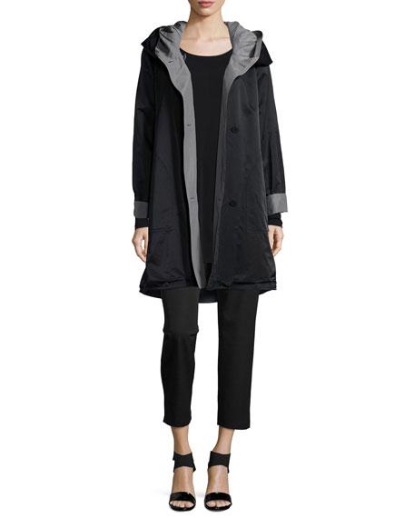 Reversible Hooded Rain Coat, Black/Pewter