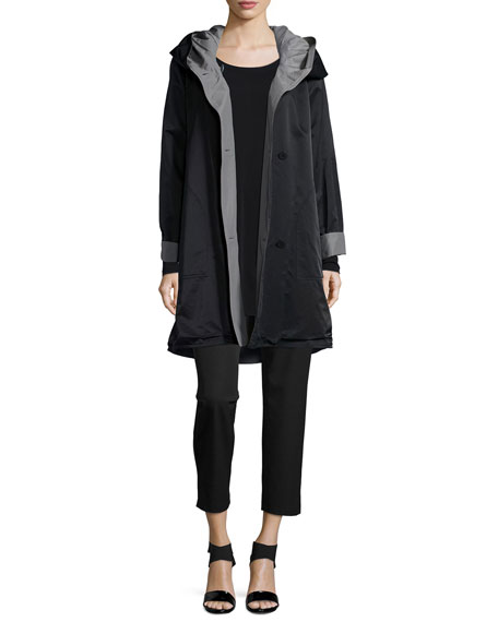 Eileen Fisher Reversible Hooded Rain Coat, Black/Pewter, Petite