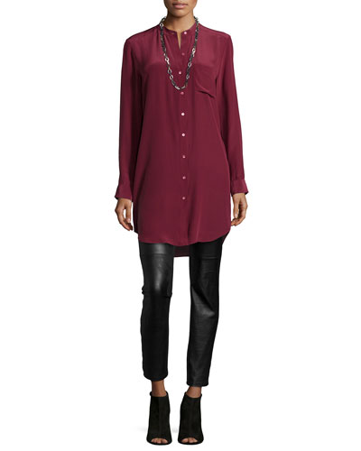 Long-Sleeve Silk Tunic/Shirt & Ponte Leather-Blocked Leggings, Petite