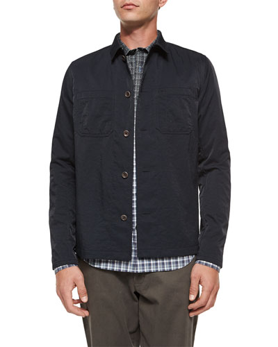 Tech Chest-Pocket Utility Shirt Jacket & Multi-Plaid Woven Degrade Shirt