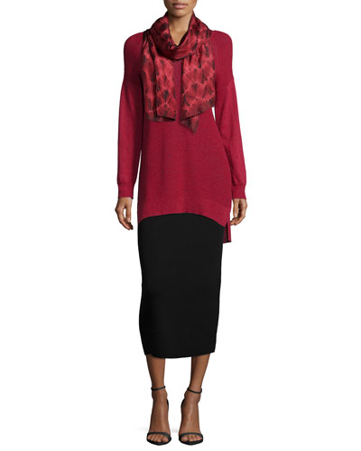 Washable Wool Long V-Neck Top, Silk Shibori Temp Scarf & Midi Pencil Skirt, Women's