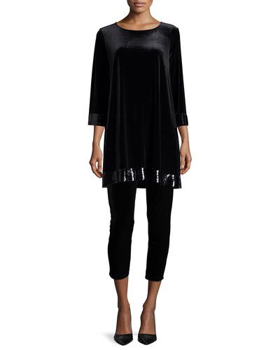 3/4-Sleeve Velour Tunic with Sequined Trim & Velour Cropped Leggings, Petite