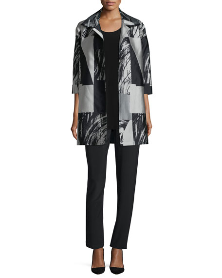 Caroline RosePerspective Jacquard Long Party Jacket