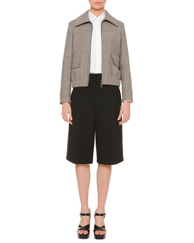 Glen Plaid Short Blouson Zip Jacket, Point-Collar Hidden-Button Blouse & Gabardine Low-Pocket Bermuda Shorts