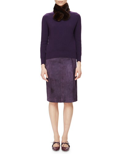 Ribbed Cashmere Sweater w/ Removable Fur Collar & Suede Raised-Seam Pencil Skirt