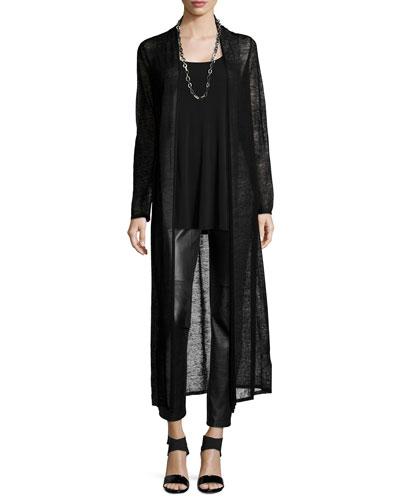 Washable Wool Mesh Maxi Cardigan, Long Silk Jersey Tunic & Ponte Leather-Blocked Leggings, Women's
