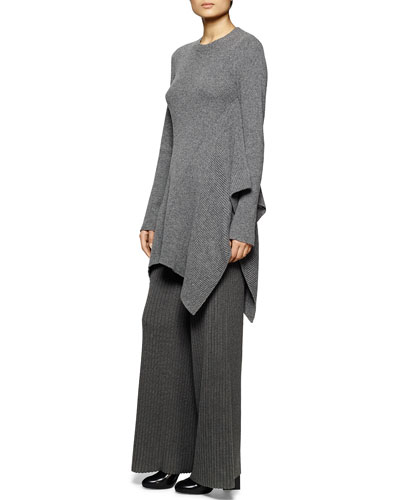 Crewneck Ribbed Cascading Tunic Sweater & Wide-Leg Ribbed Knit Pants