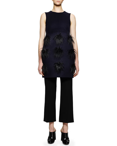 Faux-Fur Pompom Tunic/Dress & Flared Gabardine Ankle Pants