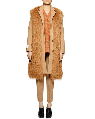 Not A Fur Coat Faux-Fur Long Coat, Leopard-Pattern Mohair-Blend Sweater & Skinny-Fit Wool Twill Ankle Pants