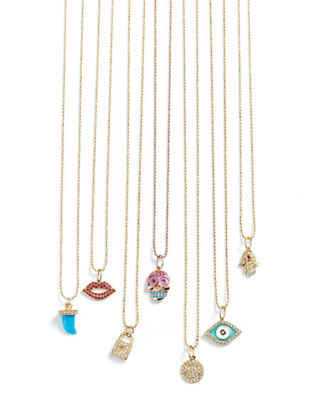 Sydney Evan Small Diamond & Turquoise Horn Necklace