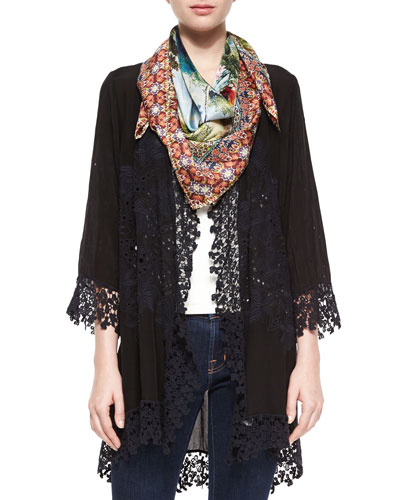 Blossom Crochet-Trim Georgette Jacket & Paradise Silk Square Scarf