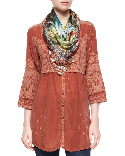 Austin 3/4-Sleeve Empire-Waist Embroidered Blouse & Paradise Silk Square Scarf