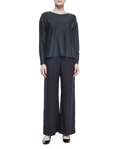 Silk-Cashmere Wide Leg Pants & Long-Sleeve Cashmere Sweater