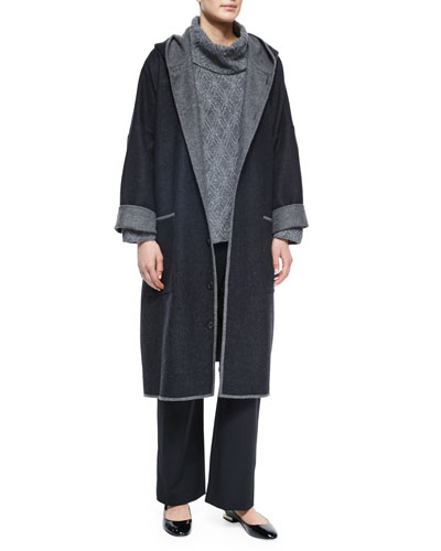 Two-Tone Hooded Woven Coat, Diamond-Knit Cashmere-Blend Turtleneck Sweater & Wool Stretch Trousers
