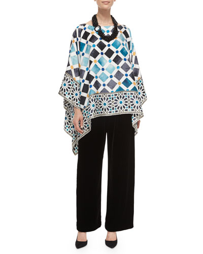 Tile-Print Silk Caftan Top, Velvet Wide-Leg Trousers & Multi-Strand Mixed Beaded Necklace