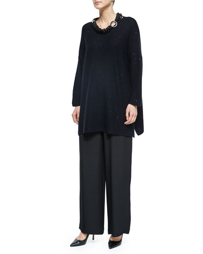 Paillette-Detailed Side-Slit Sweater, Multi-Strand Mixed Beaded Necklace & Flared Silk Trousers