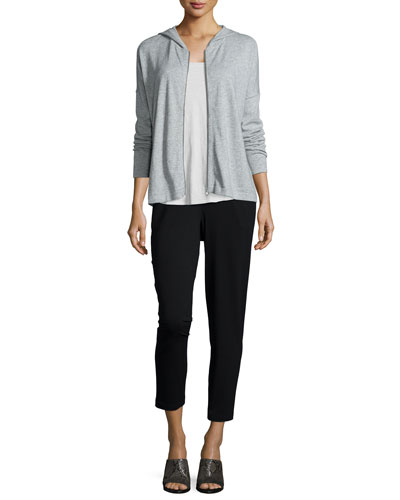 Hooded Cotton-Cashmere Shaped Cardigan, Slubby Short-Sleeve Scoop-Neck Tee & Slim Slouchy Ankle Pants